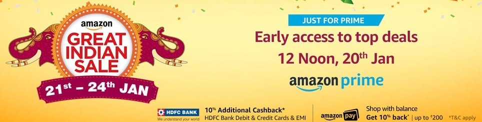 Amazon Great Indian Sale Offers : 21st to 24th January 2018