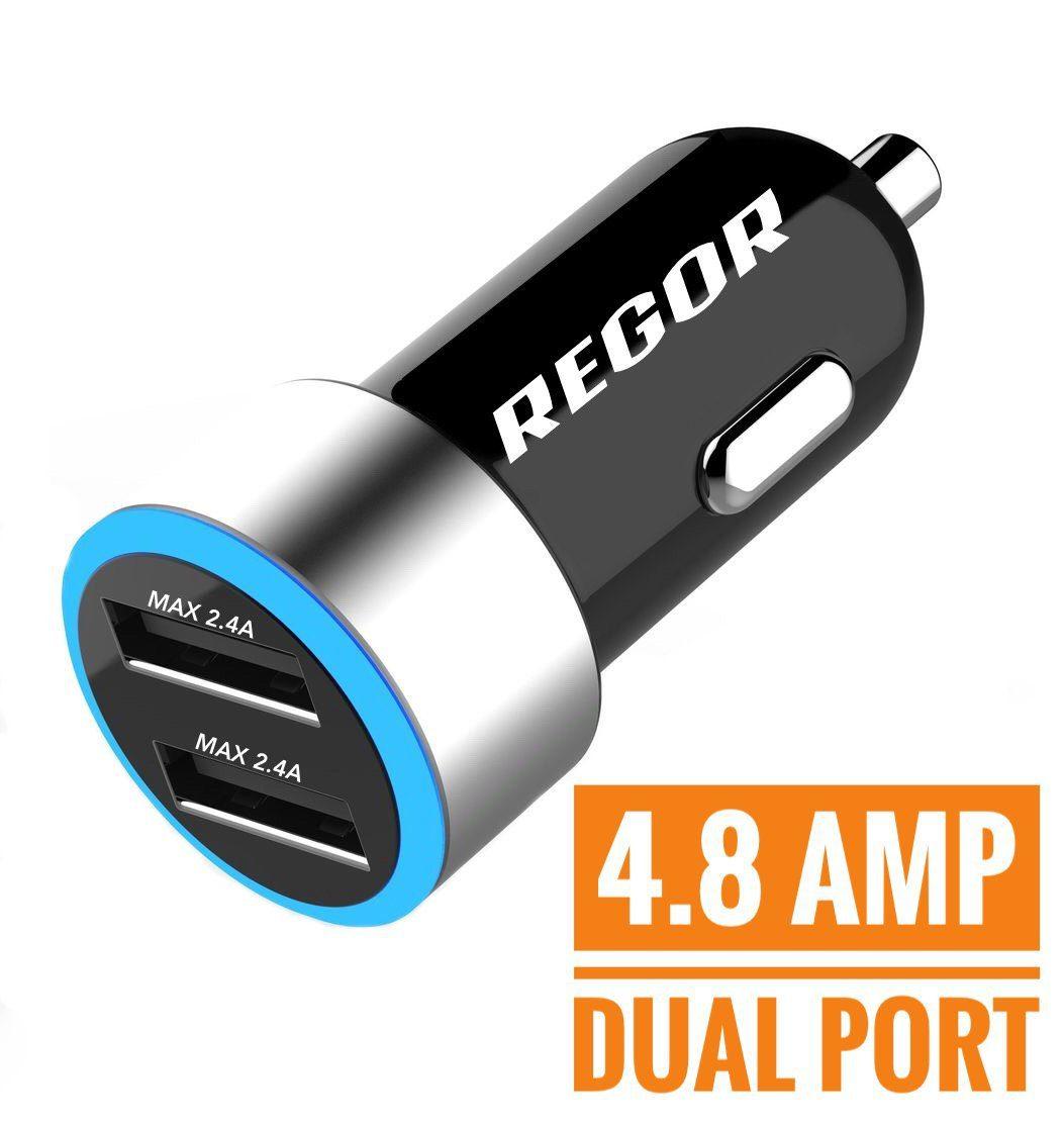 Regor car charger delivers 2.4A per port