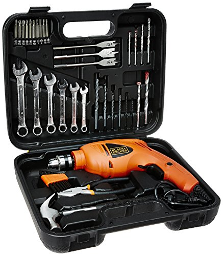 BLACK Plus DECKER HD455KA 10mm 550 Watt Impact Drill Kit (Orange, 41-Pieces)