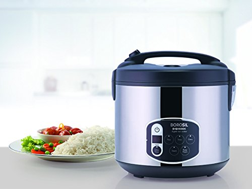 Borosil BRC18LDSS11 1.8-Liters Electric Rice Cooker and Steamer (Black)