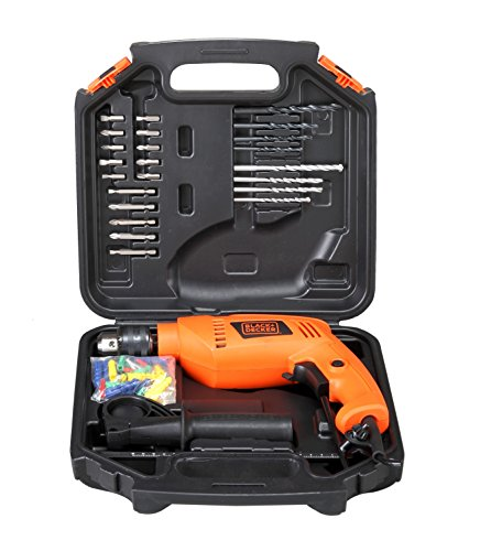 BLACK + DECKER HD555KA50 13mm 550 Watt Impact Drill Kit (50 Accessories), Orange