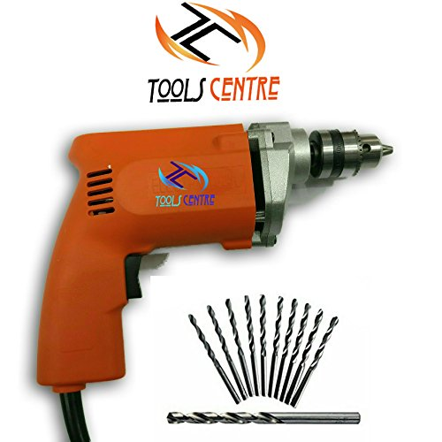 Tools Centre Powerful Simple Electric Drill Machine 10mm With Free 6Pcs HSS Drill Bits & 1Pc Masonary Bit Combo