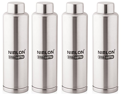 nirlon-stainless-steel-water-bottle-set-1-litre-4-pieces-silver Top 10 Stainless Steel Water Bottles In India
